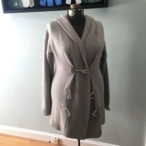 Ralph Lauren gray cashmere/wool hooded cardigan